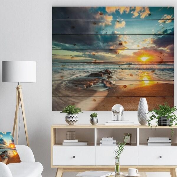 Designart 'Beautiful Cloudscape over the Sea' Modern Beach Print on Natural Pine Wood - Orange