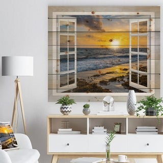 Designart 'Open Window to Bright Yellow Sunset' Modern Seascape Print on Natural Pine Wood - White