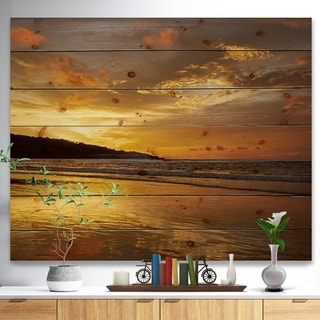 Designart 'Amazing Beach with Beautiful Breaking Waves' Modern Beach Print on Natural Pine Wood - Multi-color