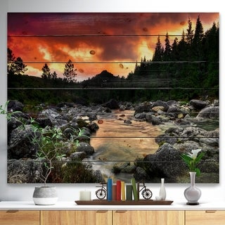 Designart 'Rocky Mountain River at Sunset' Wall Art Landscape Print on Natural Pine Wood - Red