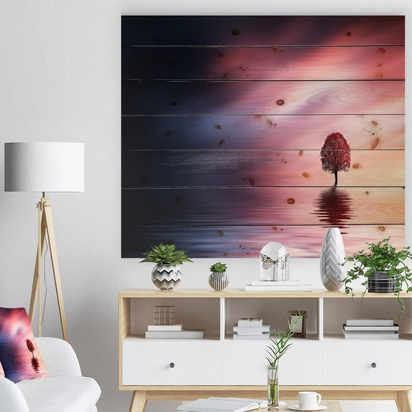Designart 'Astonishing Lonely Tree with Birds' Landscape Print on Natural Pine Wood - Multi-color