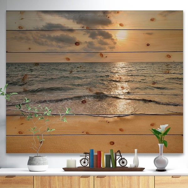 Designart 'Dark Tropical Sand Beach at Sunset' Modern Seascape Print on Natural Pine Wood - Multi-color