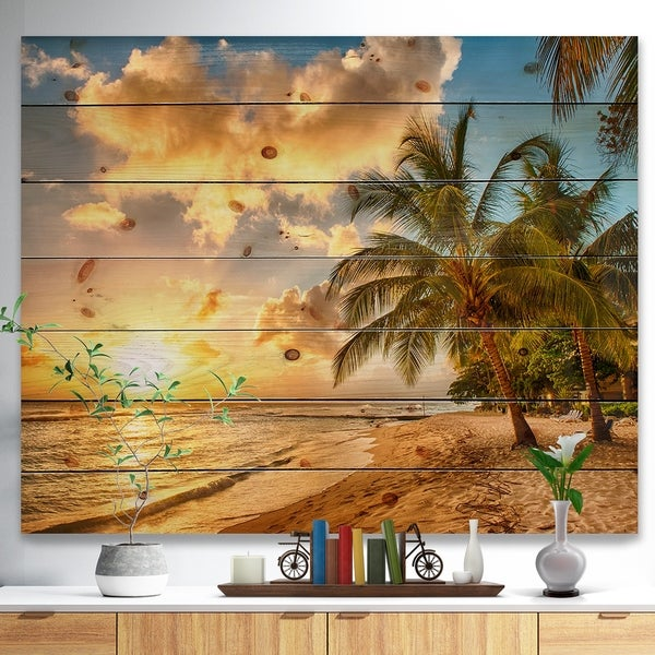 Designart 'Gorgeous Beach of Island Barbados' Modern Seascape Print on Natural Pine Wood - Multi-color