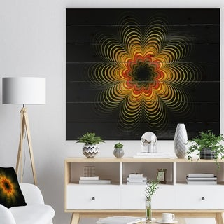 Designart 'Psychedelic Yellow Fractal Flower' Floral Print on Natural Pine Wood - Red
