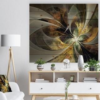 Designart 'Symmetrical Gold Fractal Flower' Floral Print on Natural Pine Wood - Black