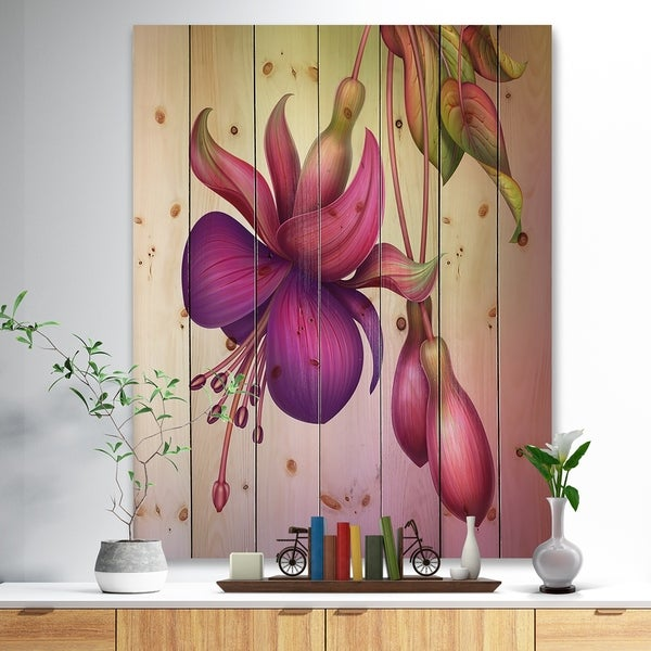 Designart 'Fuchsia Flowers with Green Leaves' Floral Print on Natural Pine Wood