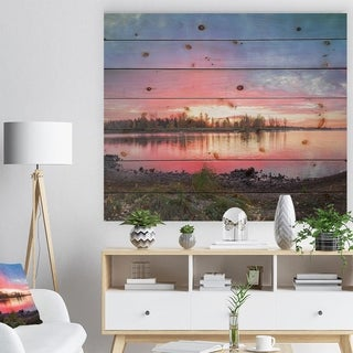'Beautiful Fall Sunrise Over River' Landscape Print on Natural Pine Wood - Blue