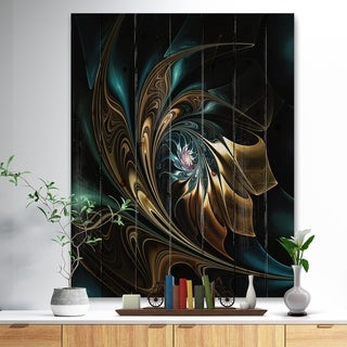 Designart 'Brown Blue Fractal Flower in Black' Abstract Print on Natural Pine Wood