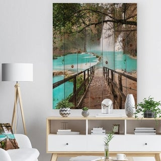 Designart 'Stairway into Beautiful Waterfall' Landscape Print on Natural Pine Wood - Green