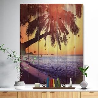 Designart 'Beach with Silhouettes of Palms' Seashore Print on Natural Pine Wood - Purple