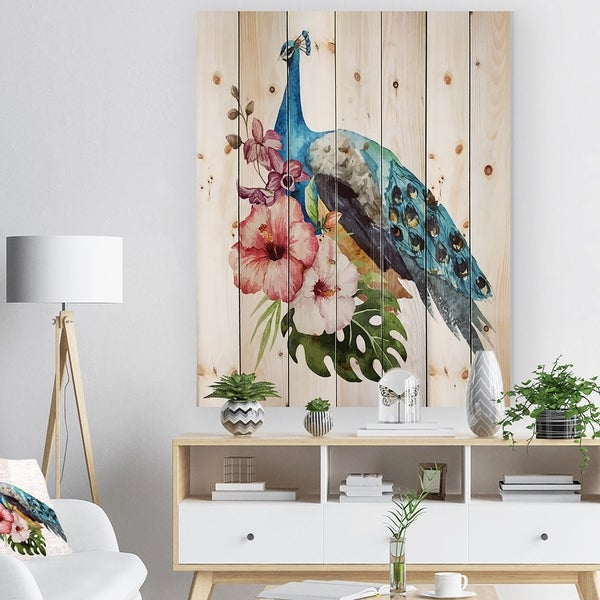 Designart 'Hibiscus Flowers and Blue Peacock' Flower Print on Natural Pine Wood