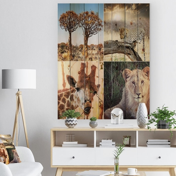 Designart 'African Safari Wildlife Collage' African Landscape Print on Natural Pine Wood - Brown