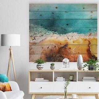 Designart 'Beautiful Morning Glory Pool' Landscape Print on Natural Pine Wood - Blue