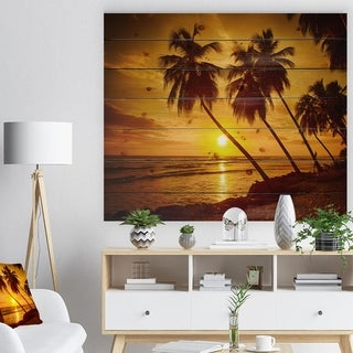 Designart 'Beach Sunset in Island Barbados' Modern Seascape Print on Natural Pine Wood - Multi-color