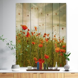 Designart 'Red Poppy Flowers in Green Field' Floral Print on Natural Pine Wood - Red