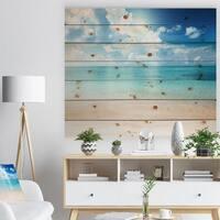 'Sand of Beach in Blue Caribbean Sea' Modern Seascape Print on Natural Pine Wood