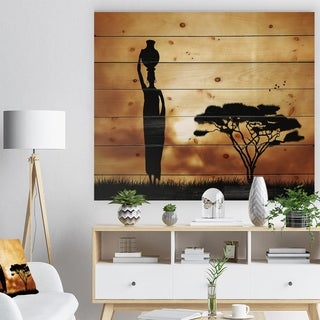 'African Woman and Lonely Tree' African Landscape Print on Natural Pine Wood - Black