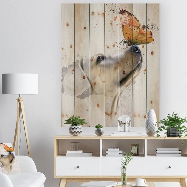 Designart Golden Retriever Dog With Butterfly Animal Print On Natural Pine Wood Gold