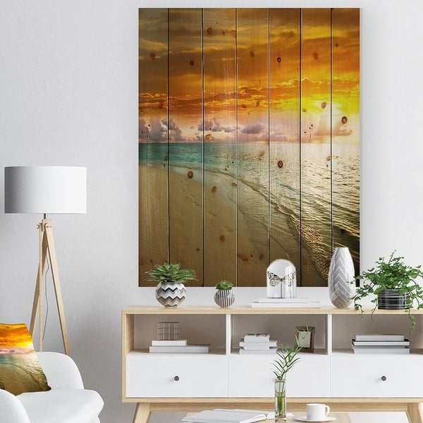 Designart 'Amazingly Colorful Beach with Footprints' Seascape Print on Natural Pine Wood - Multi-color