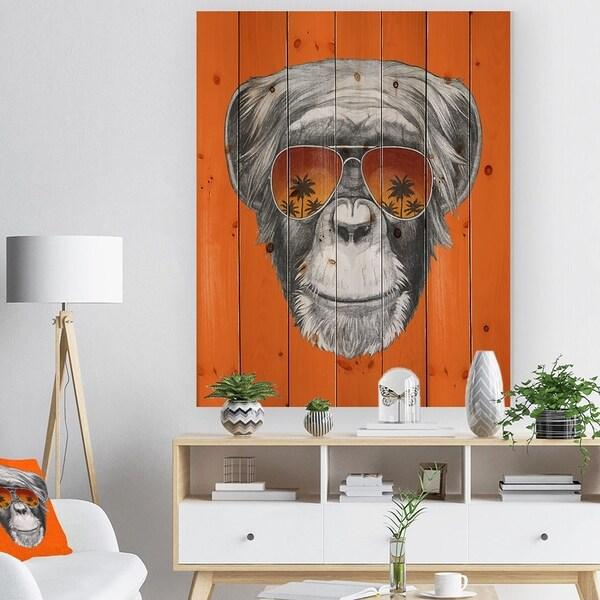 Designart 'Monkey with Mirror Sunglasses' Animal Print on Natural Pine Wood - Grey