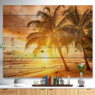 Designart 'Bright Sunset at Barbados Island' Modern Seascape Print on Natural Pine Wood - Multi-color