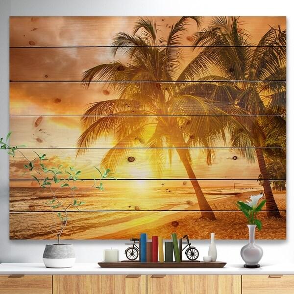 Designart 'Bright Sunset at Barbados Island' Modern Seascape Print on Natural Pine Wood - Multi-color
