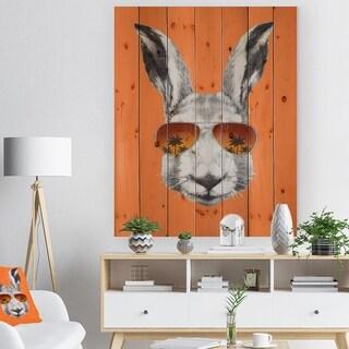 Designart 'Funny Rabbit with Sunglasses' Animal Print on Natural Pine Wood - Orange