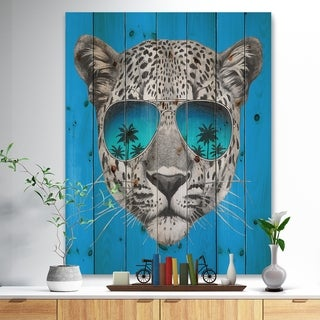 Designart 'Leopard with Mirror Sunglasses' Animal Print on Natural Pine Wood - Blue
