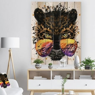 Designart 'Funny Jaguar with Sunglasses' Contemporary Animal Print on Natural Pine Wood - Yellow
