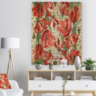 Designart 'Seamless Red Flower Pattern' Floral Print on Natural Pine Wood
