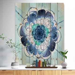 Designart 'Blue and Purple Rounded Flower' Floral Art Print on Natural Pine Wood - Blue