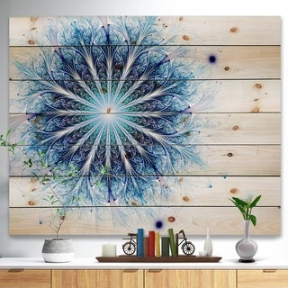 Designart 'Fractal Flower Light Blue Digital Art' Flower Print on Natural Pine Wood