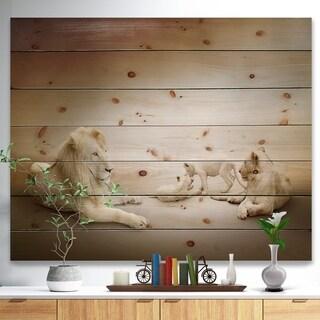 Designart 'White Lion Family' Animal Print on Natural Pine Wood - White