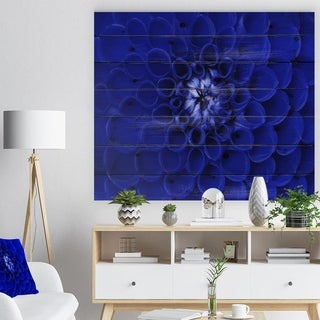 Designart 'Abstract Blue Flower Design' Floral Print on Natural Pine Wood