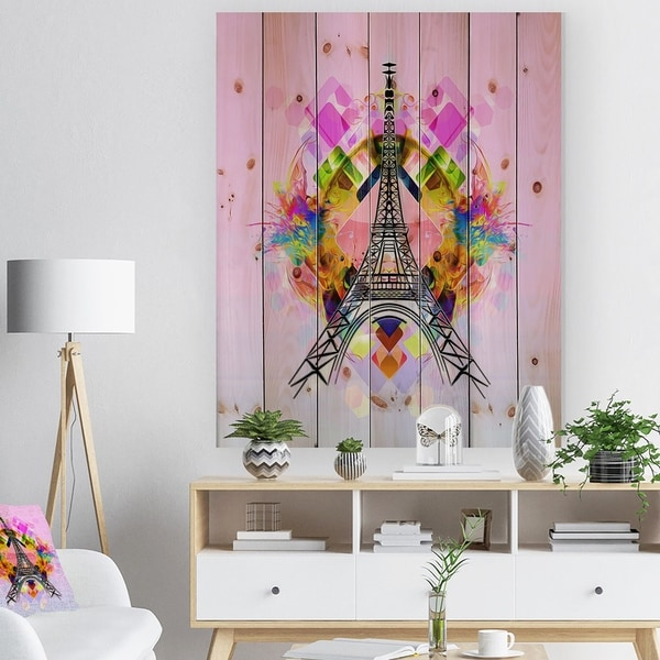 Designart 'Bright Paris Eiffel TowerCartoon' Abstract Print on Natural Pine Wood - Pink