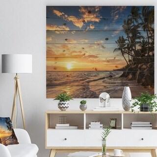 Designart 'Paradise Tropical Island Beach with Palms' Seascape Print on Natural Pine Wood - Blue