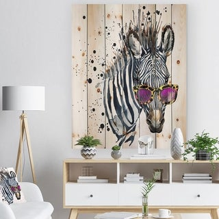 Designart 'Funny Zebra Watercolor' Animal Print on Natural Pine Wood - Grey