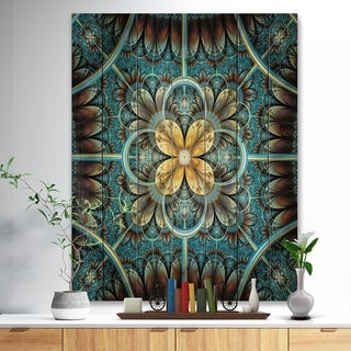Designart 'Blue and Yellow Large Fractal Flower Design' Floral Print on Natural Pine Wood - Blue