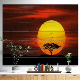 Designart 'Lonely Tree with Birds at Sunset' Landscape Print on Natural Pine Wood - Multi-color