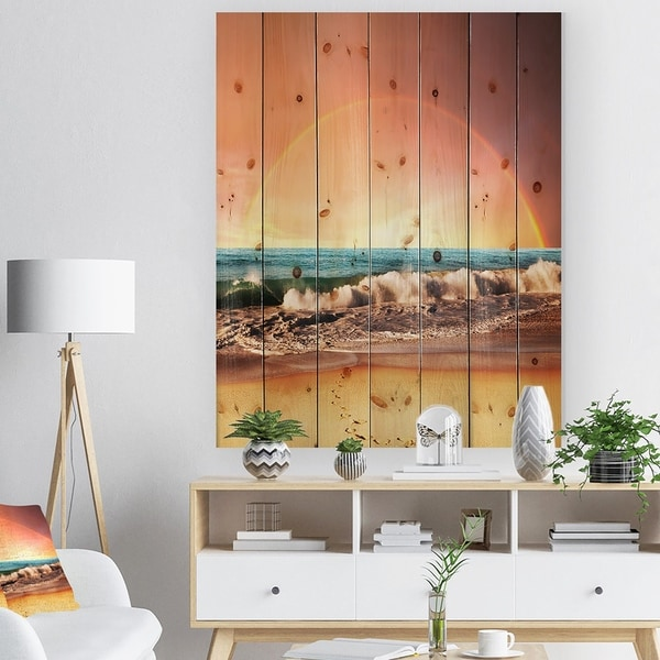 Designart 'Majestic Rainbow over Seashore' Landscape Print on Natural Pine Wood - Yellow