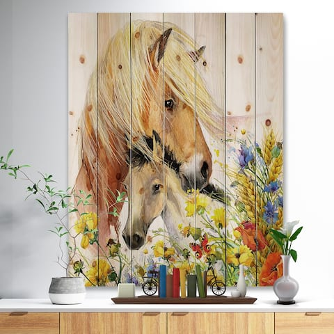 62508704cd5a Designart 'Horse and Foal with Meadow' Animal Print on Natural Pine Wood -  Yellow