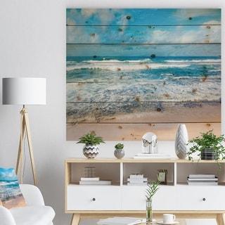 Designart 'Indian Ocean Panoramic View' Seashore Print on Natural Pine Wood - Multi-color