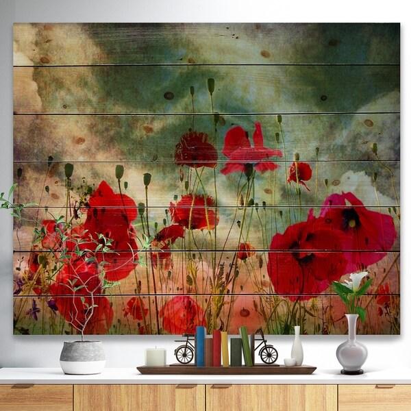 Shop Designart Wild Red Poppy Flowers In Sky Floral Print On