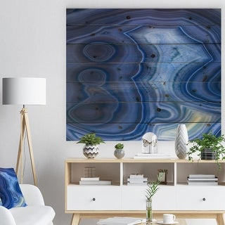 Designart 'Blue Agate Stone Design' Abstract Print on Natural Pine Wood - Blue