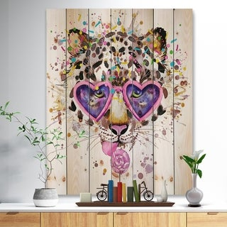 Designart 'Funny Leopard with Heart Glasses' Animal Print on Natural Pine Wood - Pink
