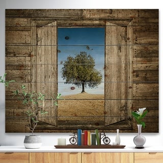 Designart 'Window Open To Solitary Tree' Farmhouse Print on Natural Pine Wood - Brown