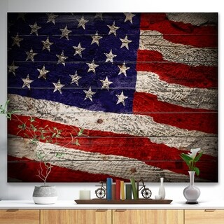 'Large American Flag Watercolor' Patriot Print on Natural Pine Wood - Red