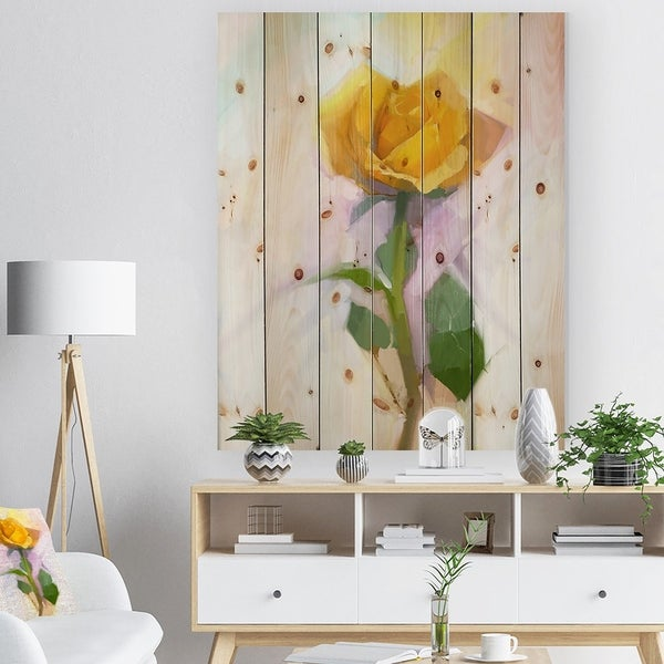 Designart 'Rose With Green Leaves Painting' Floral Print on Natural Pine Wood