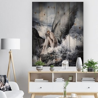 Designart 'Sexy Blonde Woman with Angel' Abstract Print on Natural Pine Wood - White
