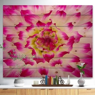Designart 'Smooth White Rose Flower Petals' Floral Print on Natural Pine Wood